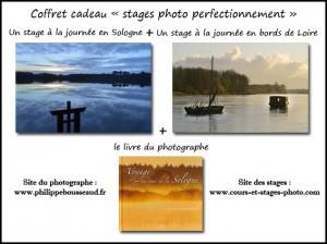 coffret cadeau n°3 : stages de perfectionnement : 1 Raid photo Sologne + 1 Raid photo Loire + 1 livre :  260 €
