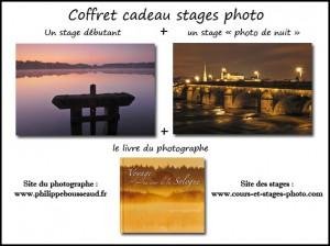 """coffret cadeau n°5 : un stage débutant + un stage """"photo de nuit"""" + un livre : 185 € (valeur au détail : 198 € )"""