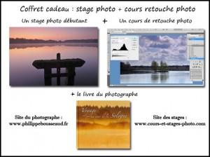 coffret n°4 : un stage débutant + un cours de retouche photo + un livre : 175 €  (valeur au détail : 188 €)