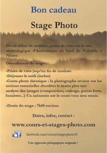 bon cadeau stages photo Nimes