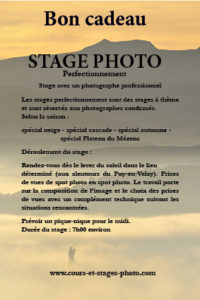 bon cadeau cours photo Auvergne